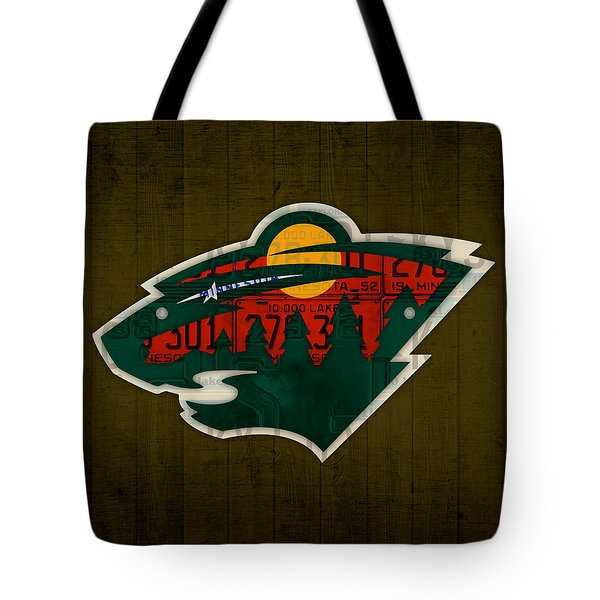 Minnesota Wild Retro Hockey Team Logo Recycled Land Of 10000 Lakes License Plate Art Tote Bag by Design Turnpike