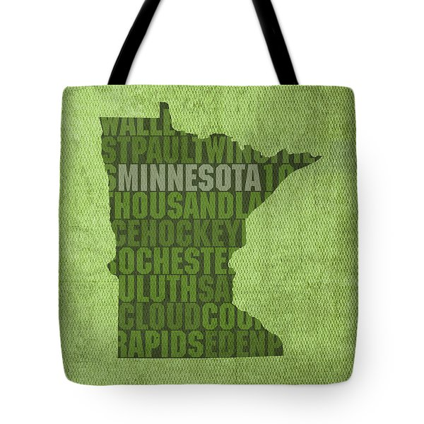 Minnesota Word Art State Map on Canvas Tote Bag by Design Turnpike