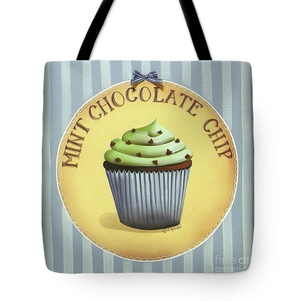 Mint Chocolate Chip Cupcake Tote Bag by Catherine Holman