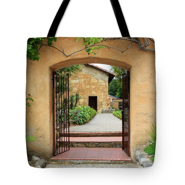 Mission Door With Scripture Tote Bag by Carol Groenen