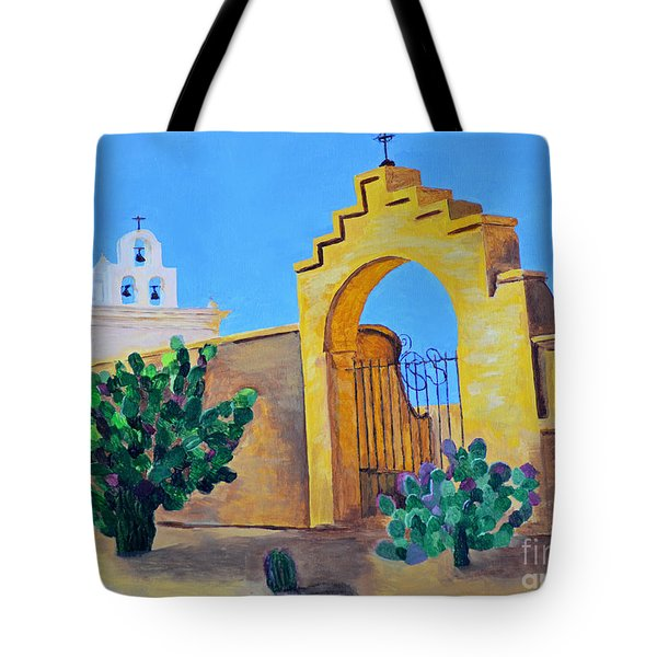 Tote Bag featuring the painting Mission San Xavier by Rodney Campbell