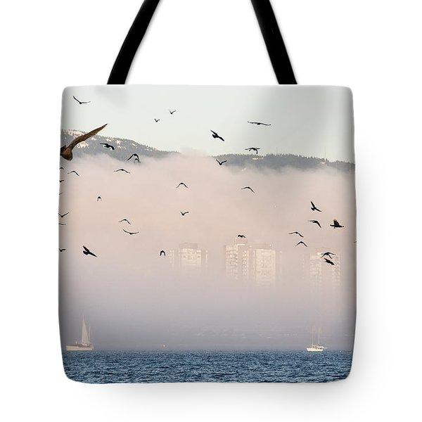 Misty City Tote Bag by James Wheeler