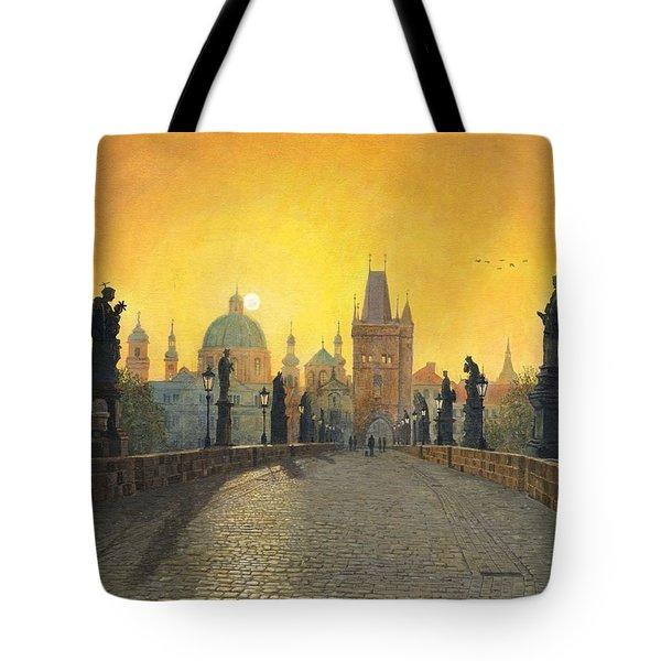 Misty Dawn Charles Bridge Prague Tote Bag by Richard Harpum