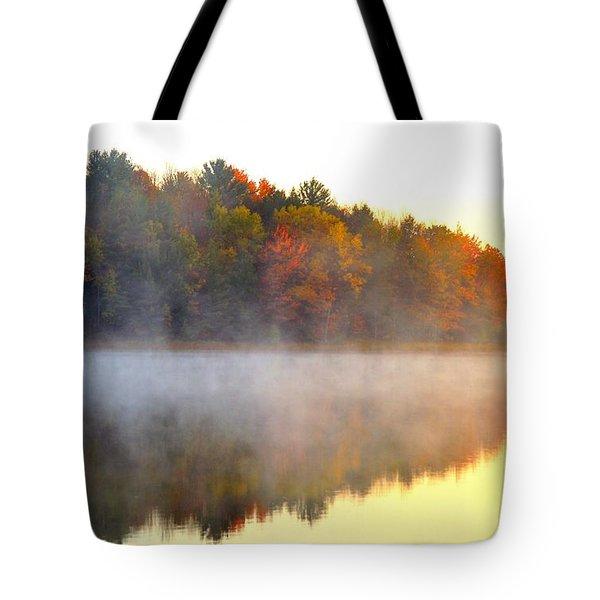 Misty Morning at Stoneledge Lake Tote Bag by Terri Gostola