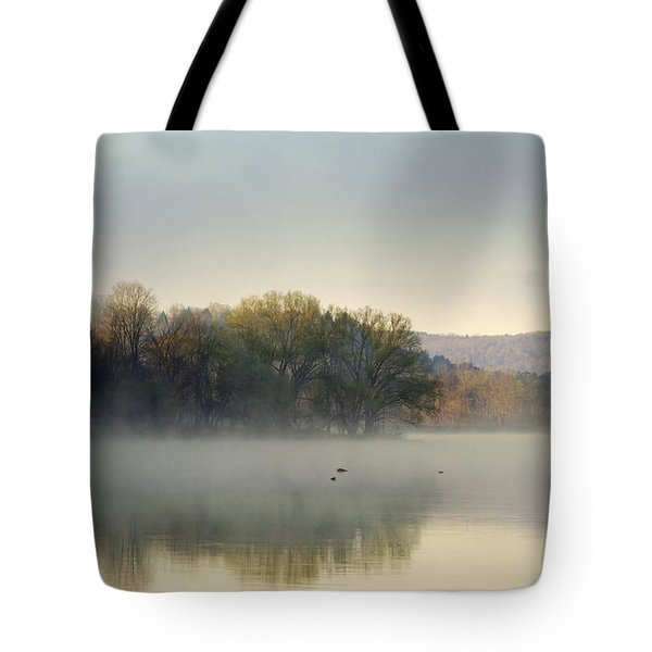 Misty Morning Sunrise Tote Bag by Christina Rollo