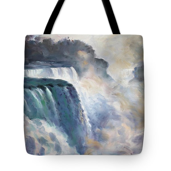 Misty Niagara Falls Tote Bag by Ylli Haruni