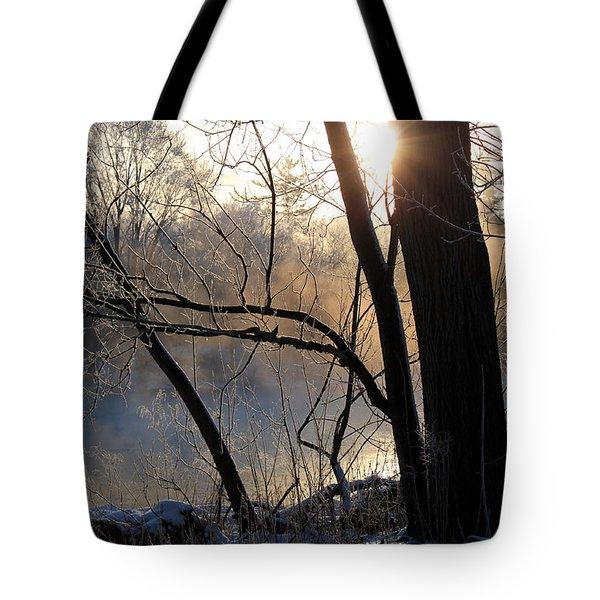 Misty River Sunrise Tote Bag by Hanne Lore Koehler