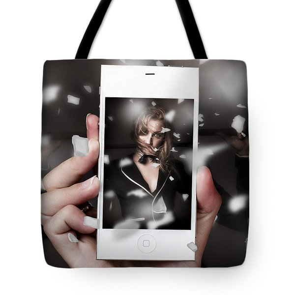 Mobile phone capturing a broadway cabaret show Tote Bag by Ryan Jorgensen