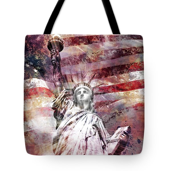 Modern Art STATUE OF LIBERTY red Tote Bag by Melanie Viola