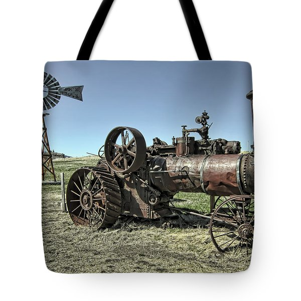 Molson Washington Ghost Town Steam Tractor And Wind Mill Tote Bag by Daniel Hagerman