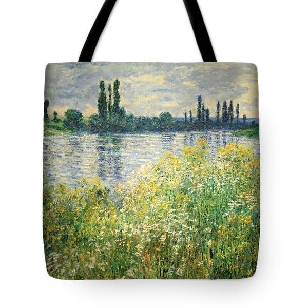 Monet's Banks Of The Seine At Vetheuil Tote Bag by Cora Wandel