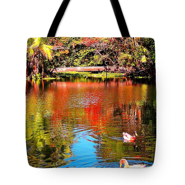 Monet's Garden In Hawaii 2 Tote Bag by Jerome Stumphauzer