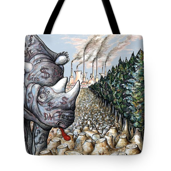 Money Against Nature - Cartoon Tote Bag by Art America Online Gallery