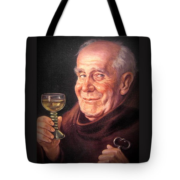 Monk With Wineglass And Key Tote Bag by The Creative Minds Art and Photography