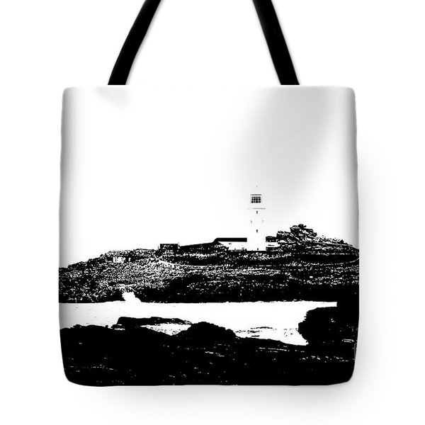 Monochromatic Godrevy Island And Lighthouse Tote Bag by Terri Waters