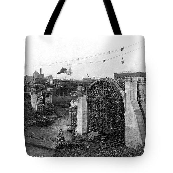 Monroe St Bridge Construction 1910 Tote Bag by Daniel Hagerman