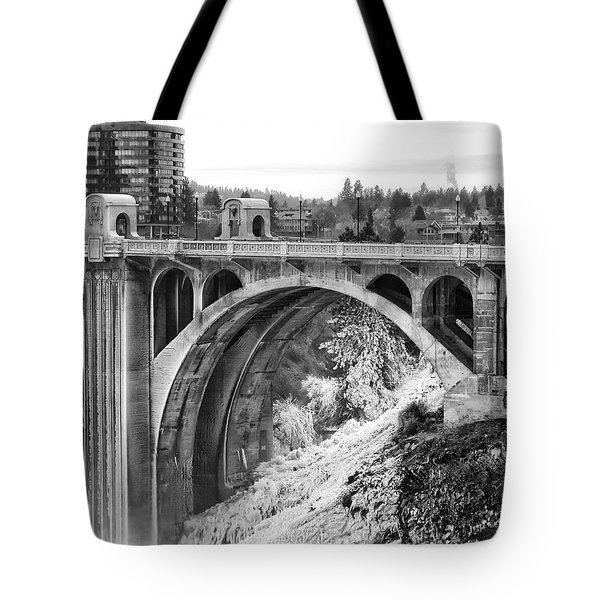 Monroe Street Bridge Iced Over - Spokane Washington Tote Bag by Daniel Hagerman