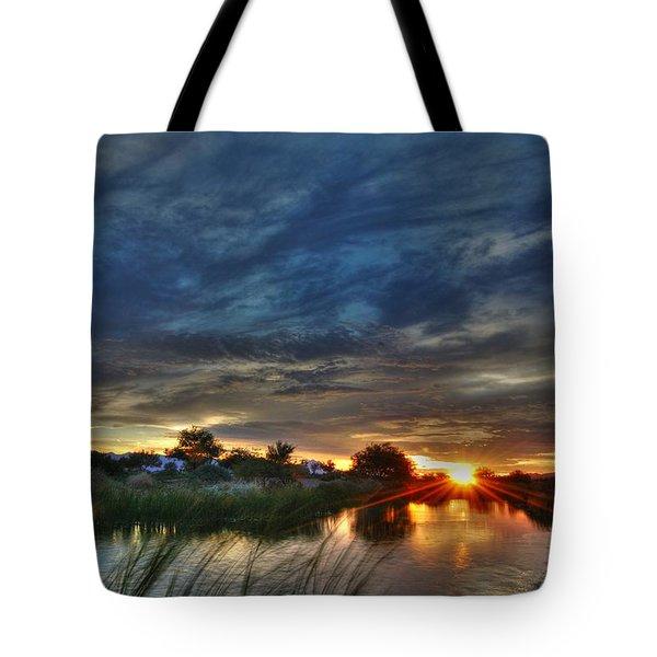 Monsoon Sunset Tote Bag by Tam Ryan