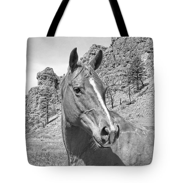 Montana Horse Portrait In Black And White Tote Bag by Jennie Marie Schell