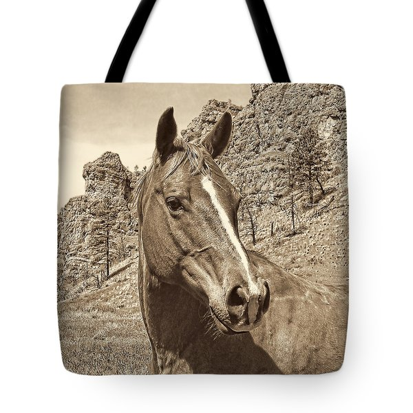 Montana Horse Portrait In Sepia Tote Bag by Jennie Marie Schell
