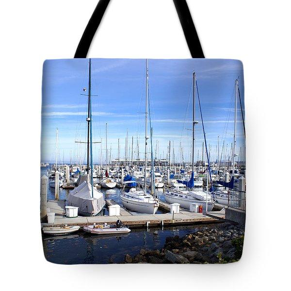 Monterey Harbor California Tote Bag by Barbara Snyder