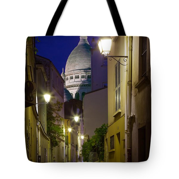 Montmartre Street And Sacre Coeur Tote Bag by Inge Johnsson