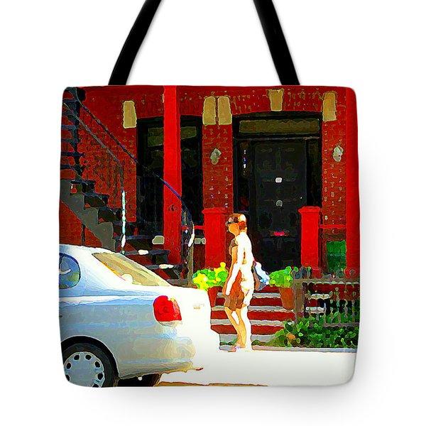 Montreal Art Summer Stroll On A Sunny Morning Colorful Street Verdun City Scene Carole Spandau Tote Bag by Carole Spandau