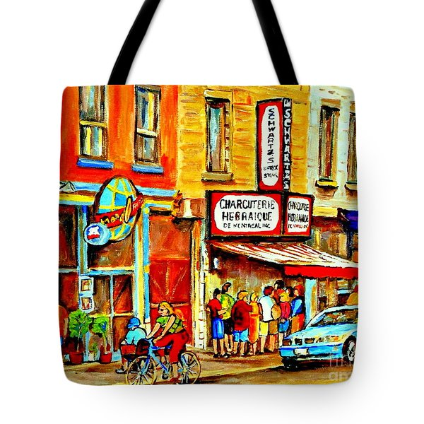 Montreal Bike Path Reserved Lane Cyclists Drive By Schwartzs Deli  Line-up Montreal Paintings Tote Bag by Carole Spandau