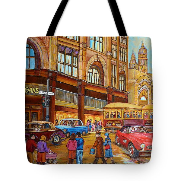 Montreal Memories-streetcars-morgan's Department Store At St.catherine And Union Tote Bag by Carole Spandau
