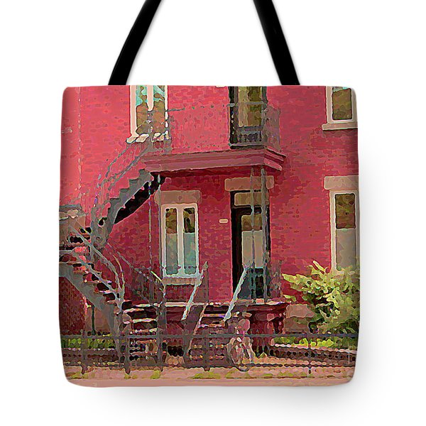 Montreal Memories The Old Neighborhood Timeless Triplex With Spiral Staircase City Scene C Spandau  Tote Bag by Carole Spandau