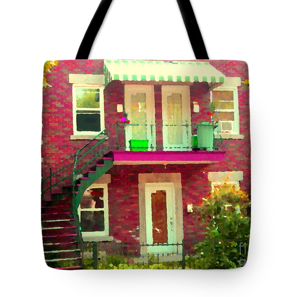 Montreal Stairs Painted Brick House Winding Staircase And Summer Awning City Scenes Carole Spandau Tote Bag by Carole Spandau
