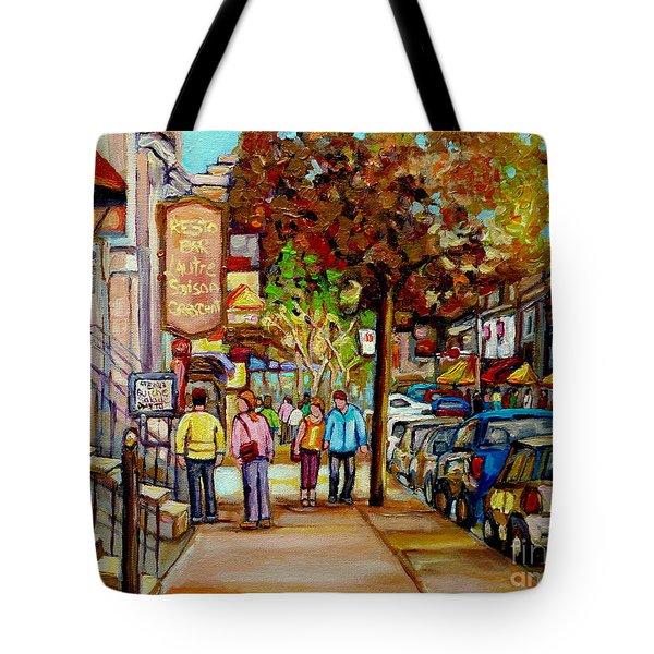 Montreal Streetscenes By Cityscene Artist Carole Spandau Over 500 Montreal Canvas Prints To Choose  Tote Bag by Carole Spandau