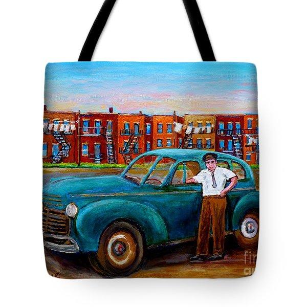 Montreal Taxi Driver 1940 Cab Vintage Car Montreal Memories Row Houses City Scenes Carole Spandau Tote Bag by Carole Spandau