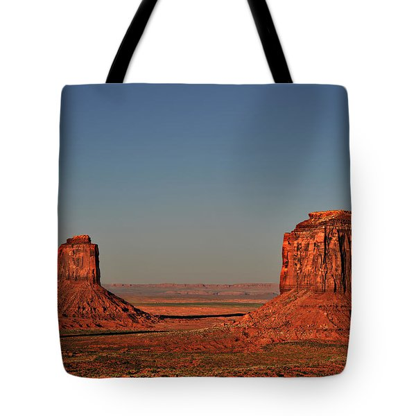 Monument Valley - East Mitten And Merrick Butte Tote Bag by Christine Till