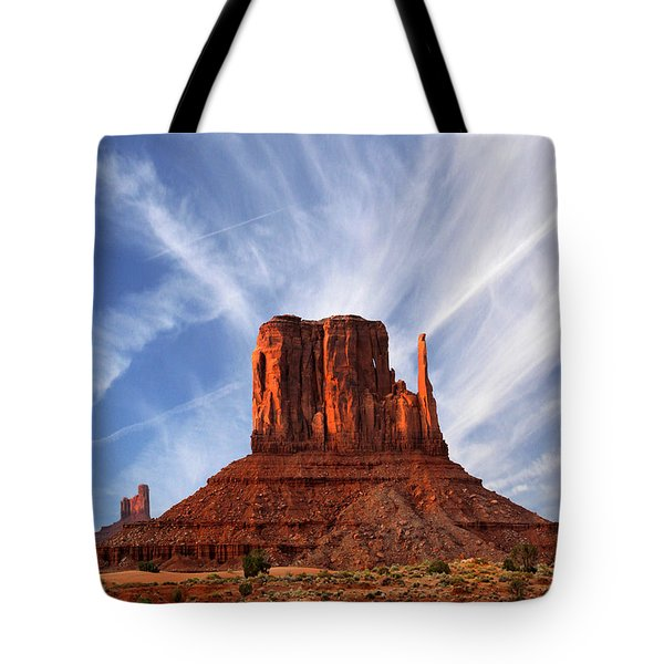 Monument Valley - Left Mitten 2 Tote Bag by Mike McGlothlen
