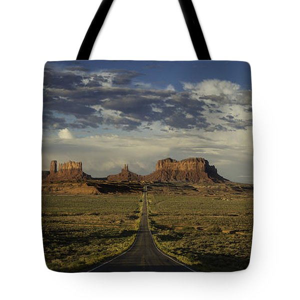 Monument Valley Panorama Tote Bag by Steve Gadomski