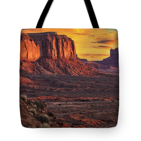 Monument Valley Sunrise Tote Bag by Priscilla Burgers