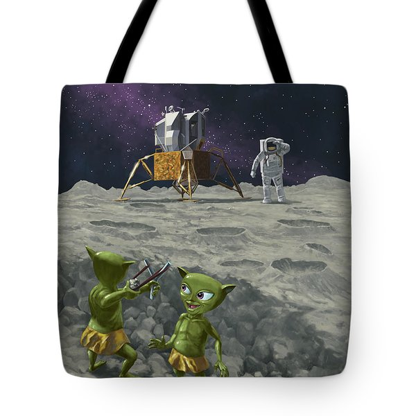 moon alien kids catapult firing game with astronauts Tote Bag by Martin Davey