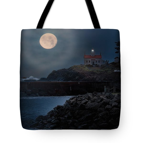 Moon Over Battery Point Tote Bag by James Heckt