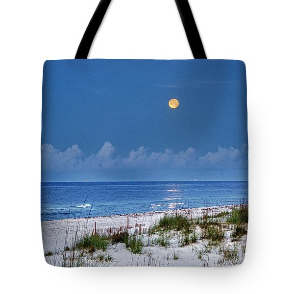 Moon Over Beach Tote Bag by Michael Thomas