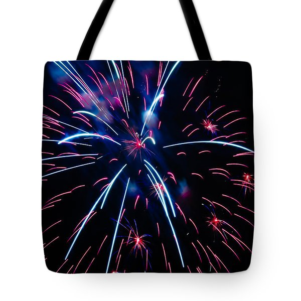 Moon Over Red White And Blue Starburst- July Fourth - Fireworks Tote Bag by Penny Lisowski