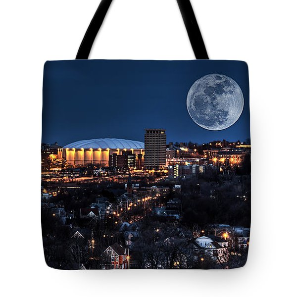 Moon Over The Carrier Dome Tote Bag by Everet Regal