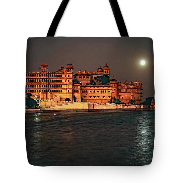 Moon Over Udaipur Tote Bag by Steve Harrington
