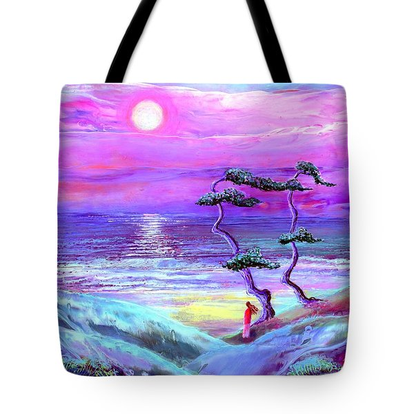 Moon Pathway,seascape Tote Bag by Jane Small