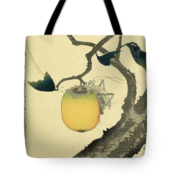 Moon Persimmon And Grasshopper Tote Bag by Katsushika Hokusai