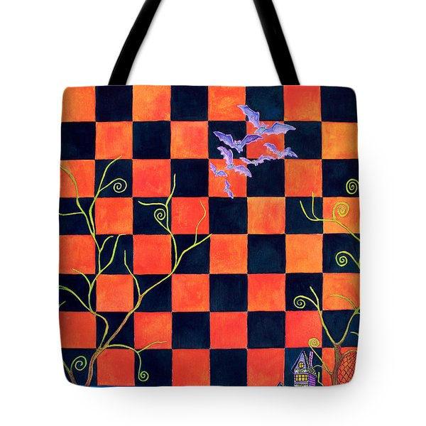 Flight Of The Moon Witch Checkerboard Tote Bag by Janet Immordino