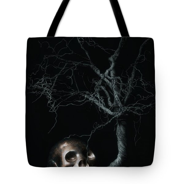 Moonlit Skull And Tree Still Life Tote Bag by Tom Mc Nemar
