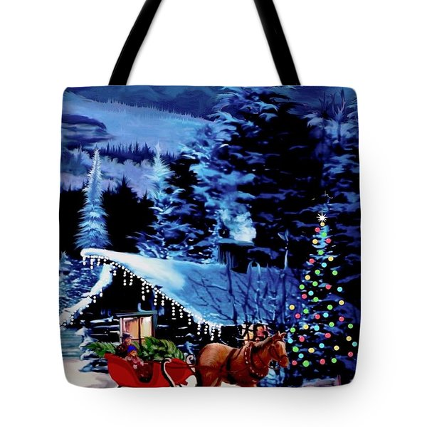 Moonlit Sleigh Ride Tote Bag by Ronald Chambers