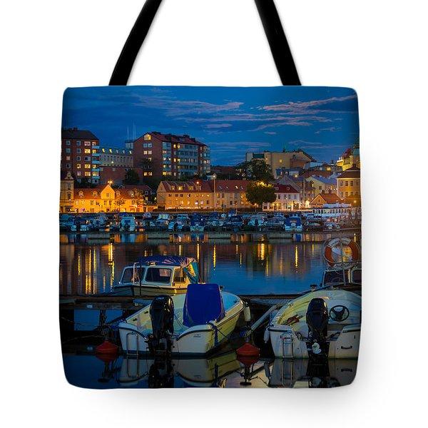 Moonrise In Karlskrona Tote Bag by Inge Johnsson