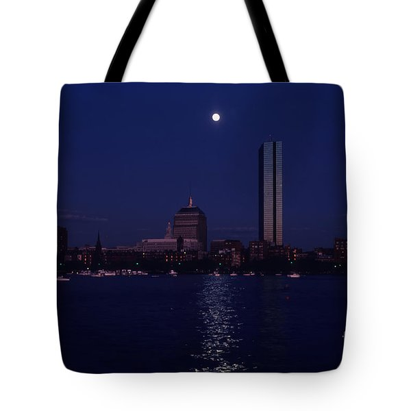 Moonrise Over Boston Skyline July 1982 Tote Bag by Thomas Marchessault